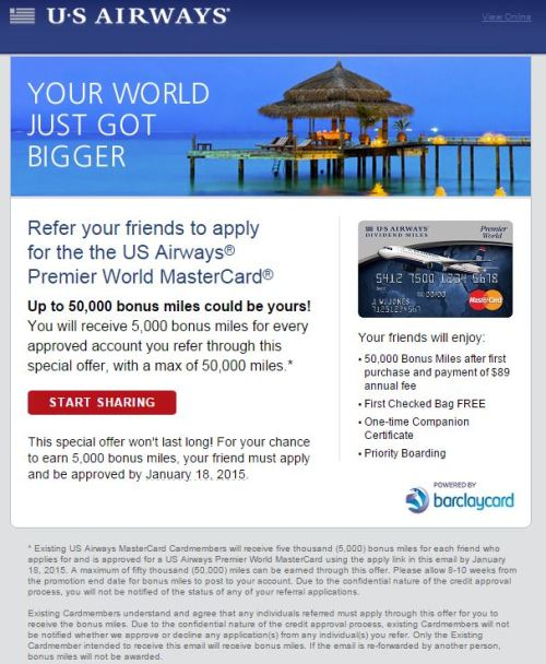 usairways barclaycard 500x608 - 50,000 USAirways Miles for you, 5,000 USAirways Miles for me