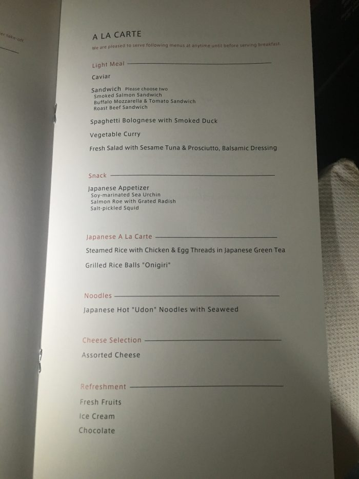 japan airlines boeing 777 300er first class san francisco sfo tokyo haneda hnd a la carte menu 700x933 - Japan Airlines JAL First Class Boeing 777-300ER San Francisco SFO to Tokyo Haneda HND review