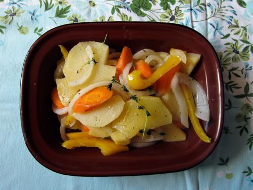 braised turnips, onion, carrots