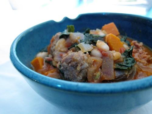 white bean, sweet potato, & kale stew (with sausage)   everybody likes sandwiches