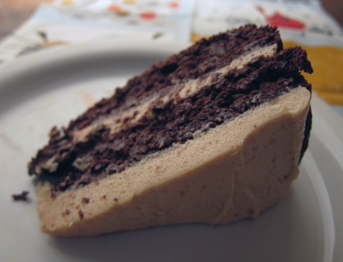 deep n' dark chocolate quinoa cake with peanut butter frosting | everybody likes sandwiches