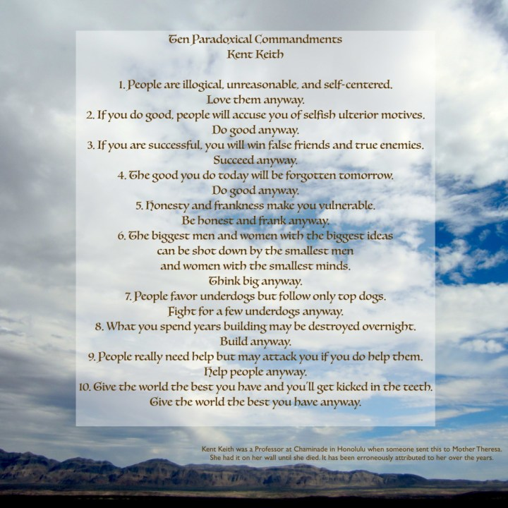 10 Commandments Kent Keith, Anyway