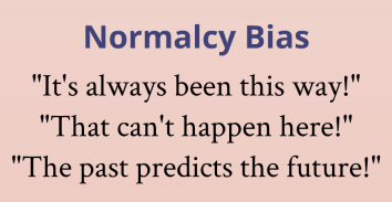 normalcy bias kills many good ideas - past doesn't predict future