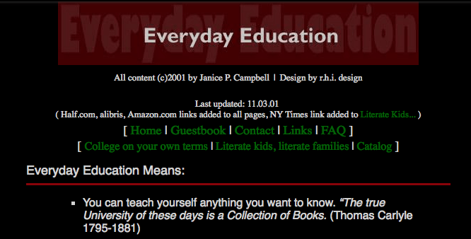 The Everyday Education homeschool site as it looked in 2001.