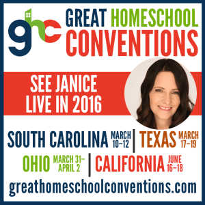 Janice Campbell will be a featured speaker at the Great Homeschool Conventions, speaking on Homeschooling 101.