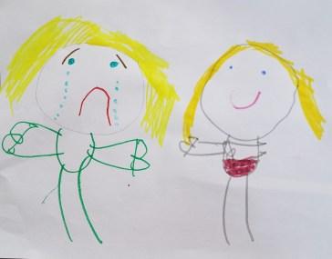 Sidekick Sadness. Drawn by Basil. Age 5.