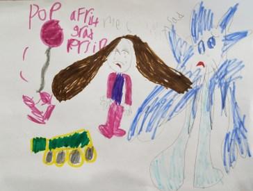Sidekick Sadness. Drawn by Pyper. Age 6.