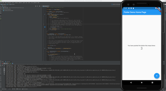 screenshot showing android studio and android emulator running sample flutter app