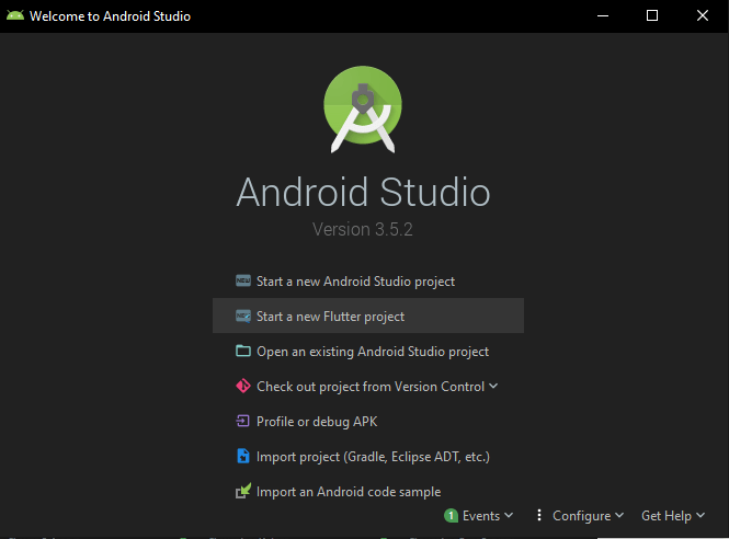 screenshot of android studio welcome screen showing the start a new flutter project button