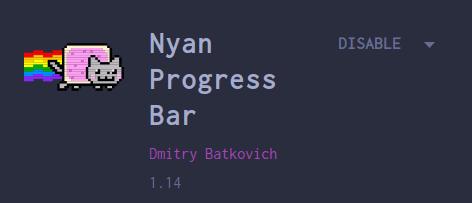 screenshot of the nyan progress bar plugin in the marketplace