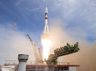 Soyuz rocket launching from the pad