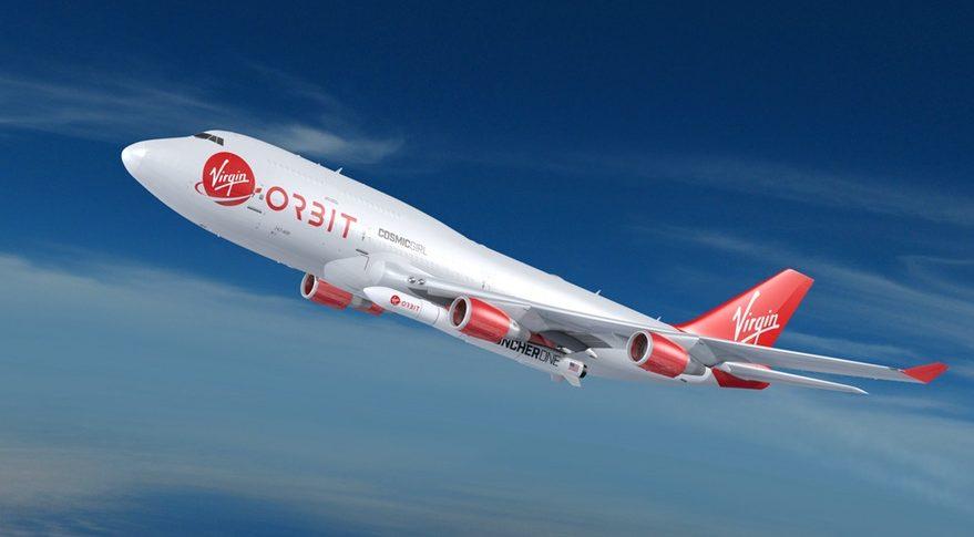 Boeing 747-400 cosmic girl virgin orbit launcherone rocket sky whitsful clouds red engines airplane aviation flight