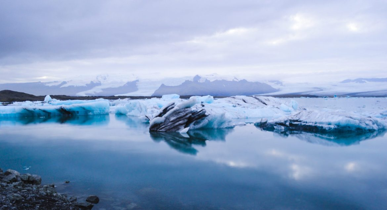 "This beautiful blue ice at Jokulsarlon ""Glacier Lagoon"", right across from Diamond Beach."