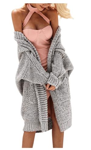 Grey Long Knit Cardigan
