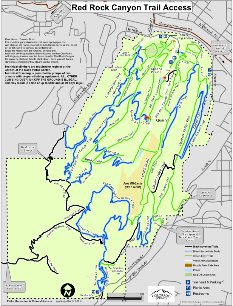 Map of Red Rock Canyon Open Space trails