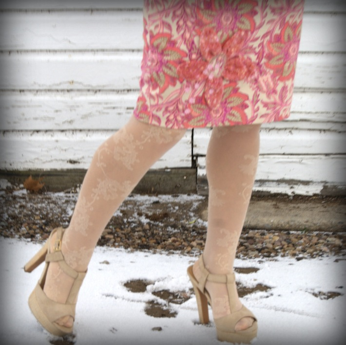 refashioned thrift skirt with flower detail