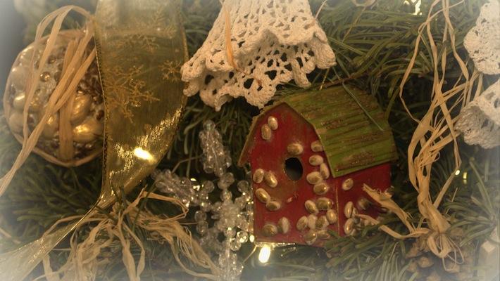 handmade barn Christmas ornament; still still still