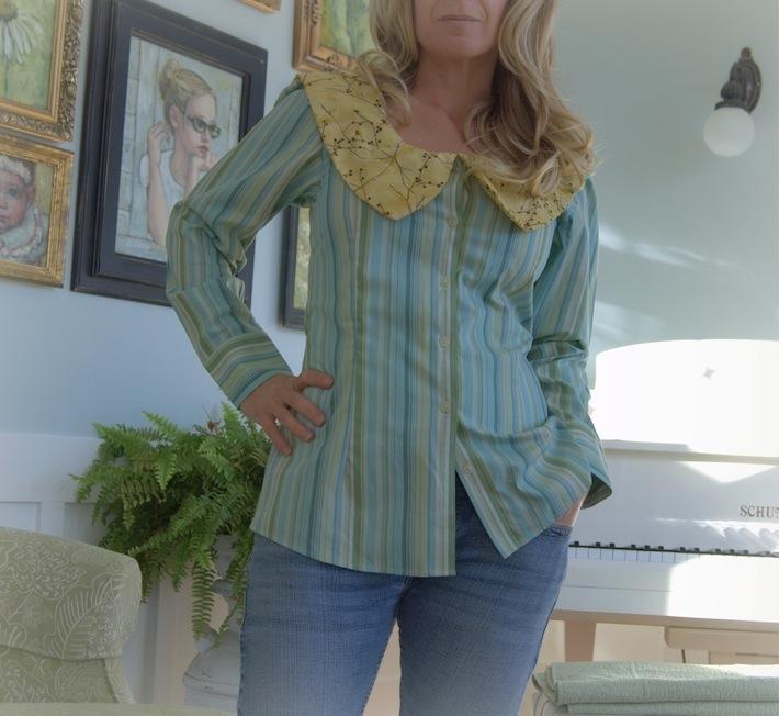 peter pan pinstripe: refashion a shirt #2