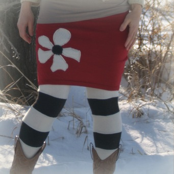 red sweater skirt