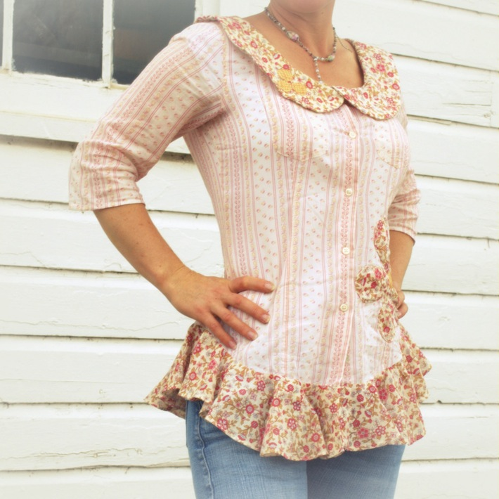 thrifted, refashioned peter pan peplum