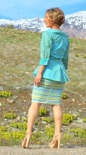 in a striped pencil skirt, refashioned