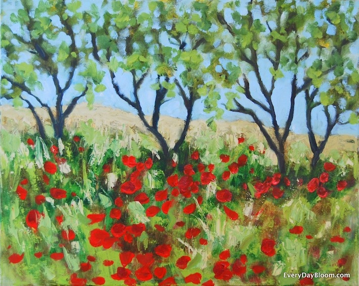 oil on canvas painting, poppies