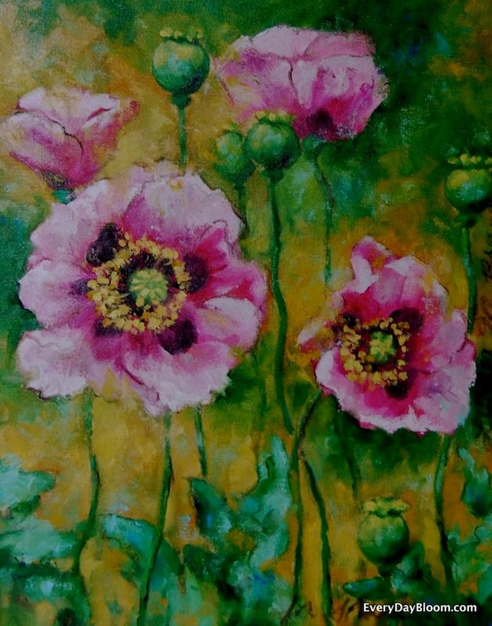 poppies painting, oil on canvas