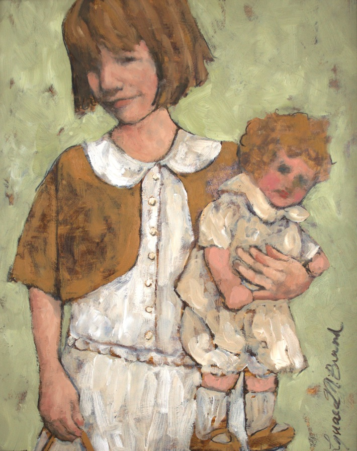 oil painting on board: Beverly, Doll