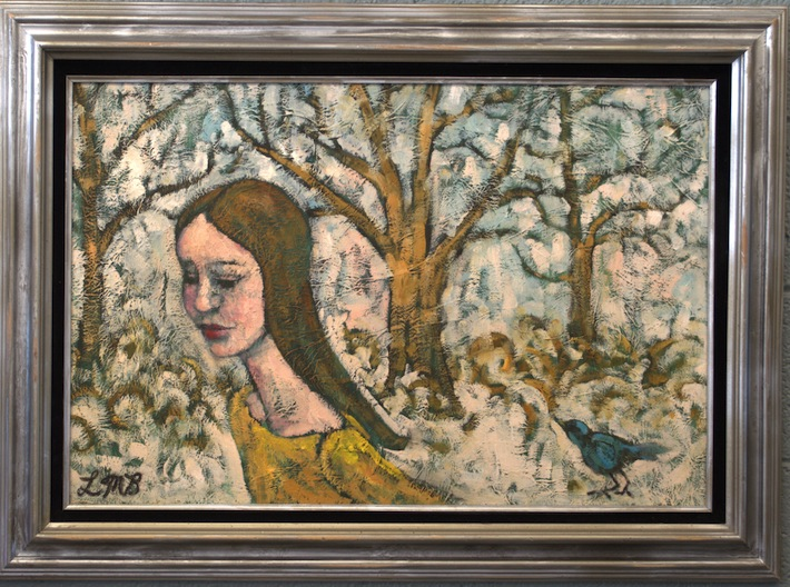 painting of a girl and a bird