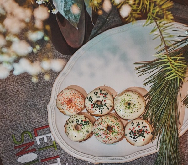 Christmas Sugar Donuts | Cream Cheese Frosting | Cream Cheese Frosted Donut | Christmas Breakfast Recipe | Holiday Dessert Recipe | Holiday Breakfast Recipe | Holiday Donut Recipe
