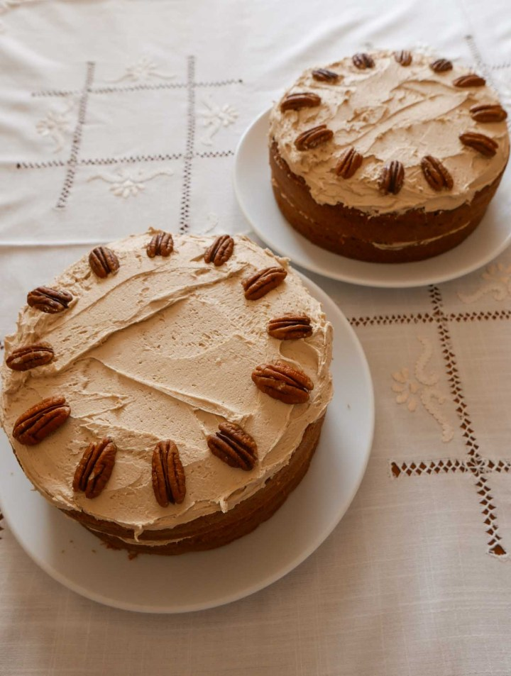coffee cake with buttercream and pecans times two