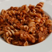 One-pot mince and pasta in a white bowl