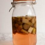 Rhubarb gin, steeping in a Kilner jar.