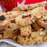 Cranberry and Hazelnut Biscotti on a white plate