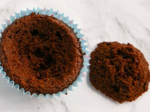 Chocolate cupcake with the top reomoved