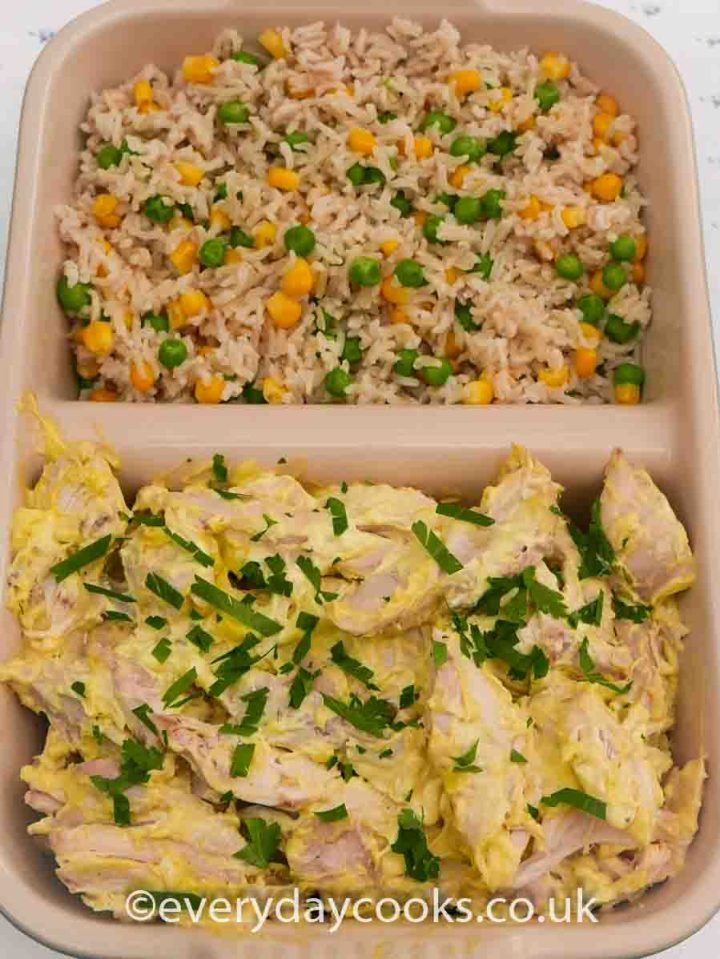 Chicken Mayonnaise and rice salad with peas and sweetcorn in a dish