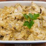 Coronation Chicken in a gratin dish