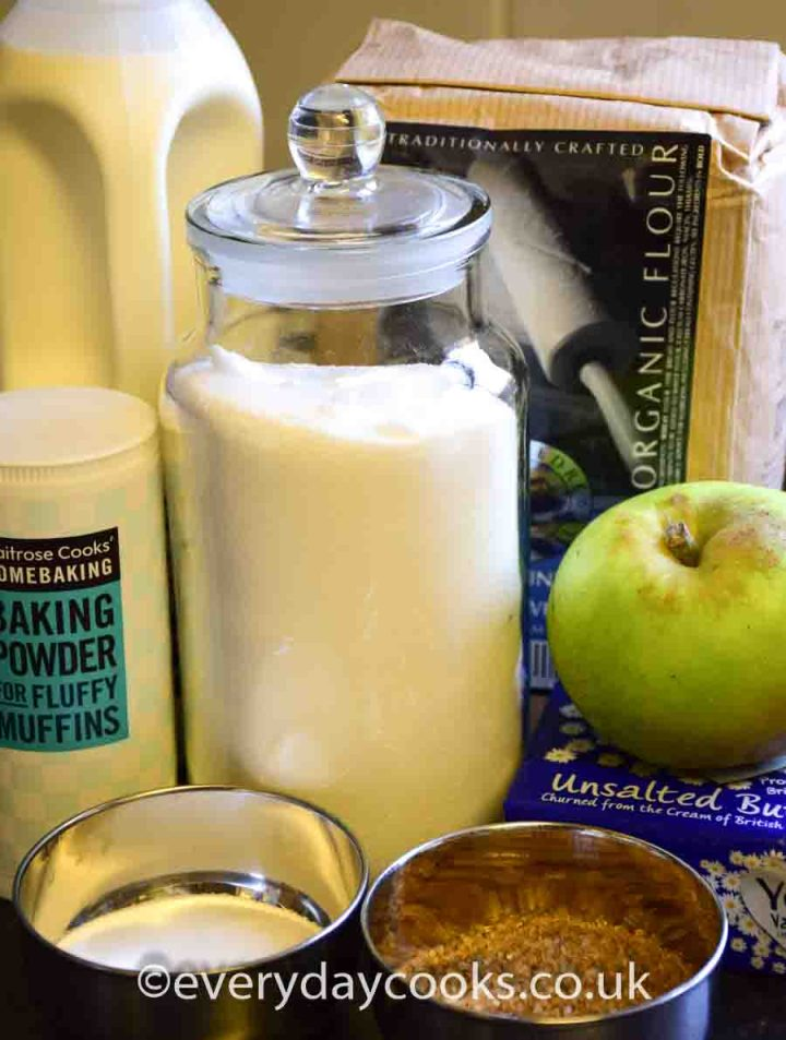 Ingredients ready to be used for Apple Scone