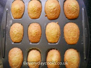 French Madeleines in the baking tin