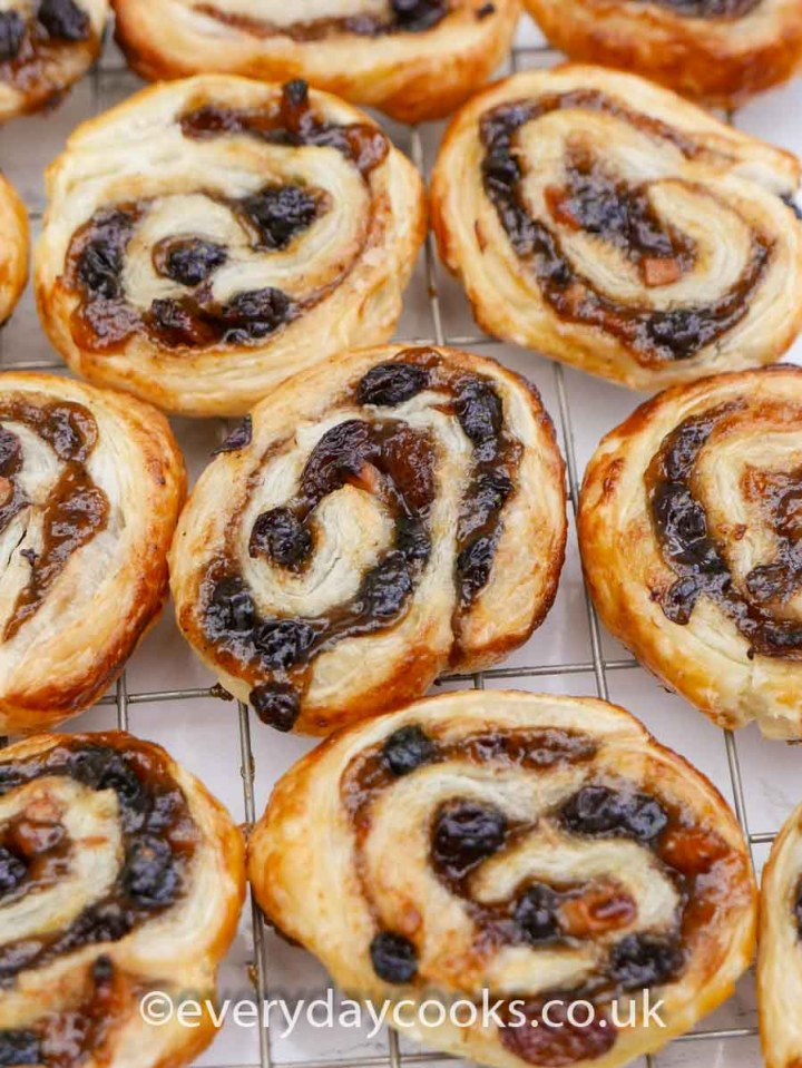 Mincemeat Pinwheels on a wire cooling rack