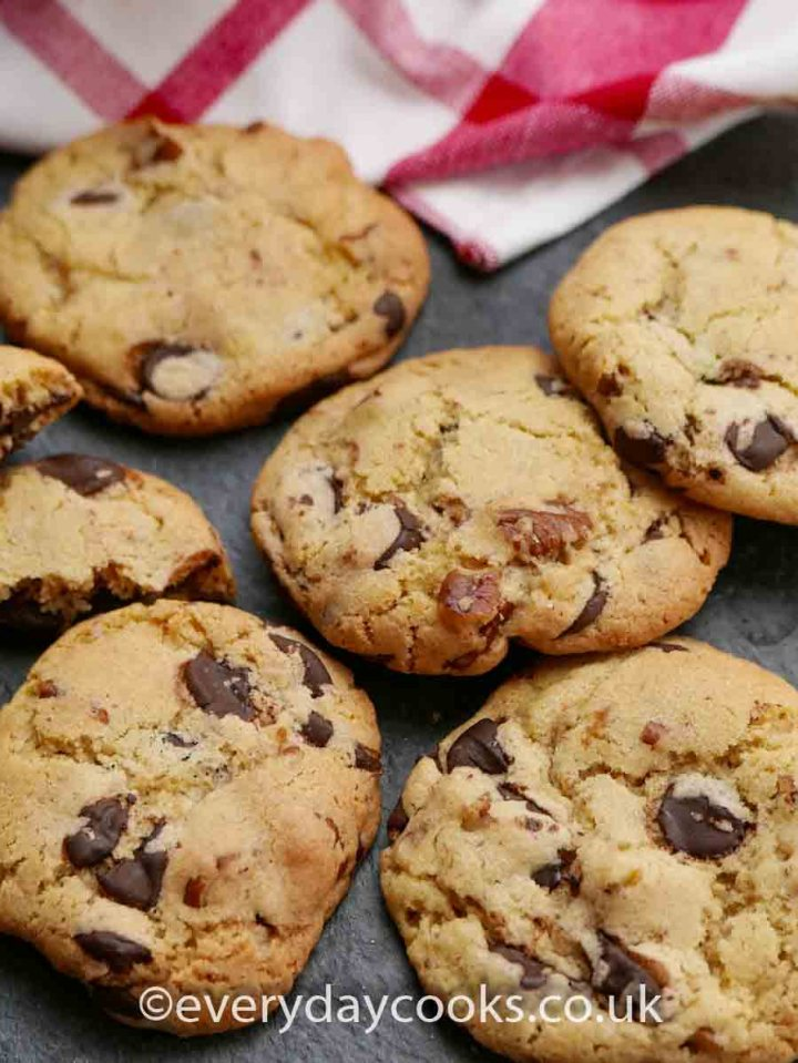 Pecan Chocolate Chip Cookies on a slate
