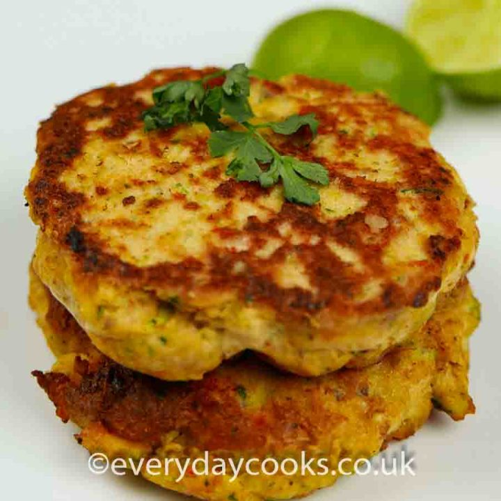 Thai Salmon Fishcake in a stack