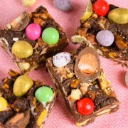 Pieces of Easter Rocky Road on a plate