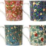 4 William Morris design china mugs of various colours