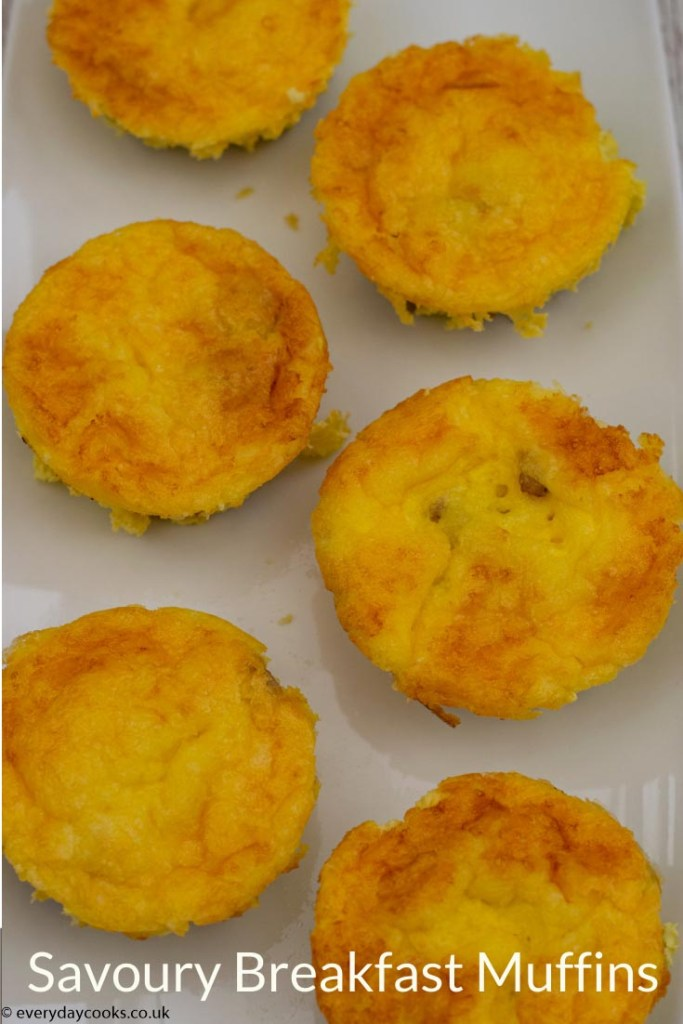 6 Breakfast Savoury Muffins on a white plate