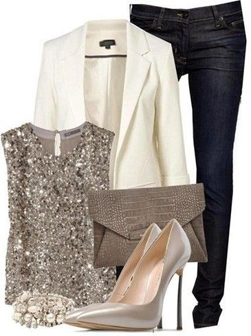 A sequin top, white jacket, and dark denim jeans