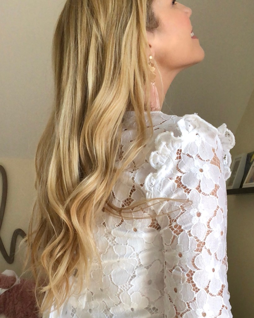 Thin, Fine, blonde curled hair on Cori from Everyday Cori