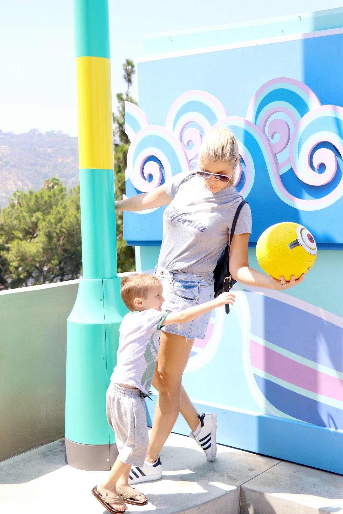 A mom at Universal Studios in Hollywood with her son