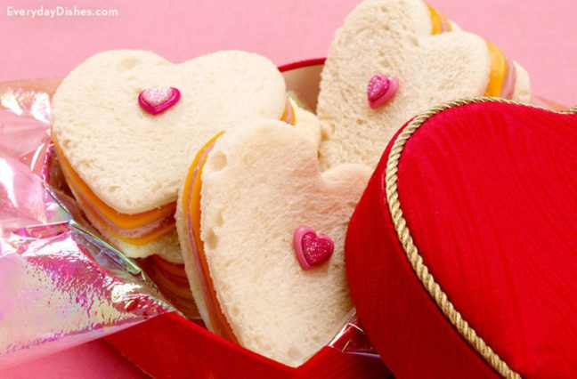 Heart-shaped sandwiches for Valentine's Day