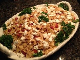 Karen's farfalle, sundried tomatoes and goat cheese.
